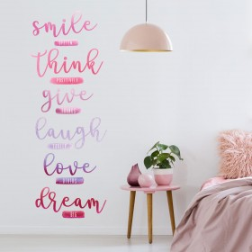 Vinilo Decorativo: SMILE, THINK, GIVE