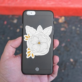 Cell phone decal: flor con lineas